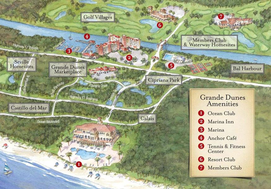 Map Of Grande Dunes Ammenities